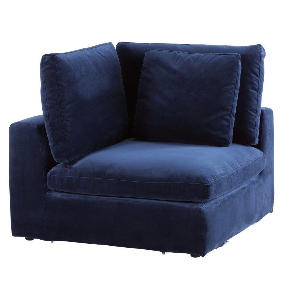 angle de canap modulable en velours bleu nuit maisons. Black Bedroom Furniture Sets. Home Design Ideas