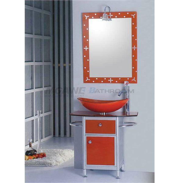 Red Bathroom Vanity Glass Washbasin Stainless Steel