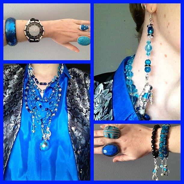 Electric Blue shirt, silver vest and Jewel Divas Deep Ocean Diver set