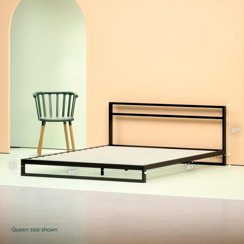 Trisha Metal Platform Bed Frame With Headboard Metal Platform Bed Steel Bed Frame Bed Frame And Headboard