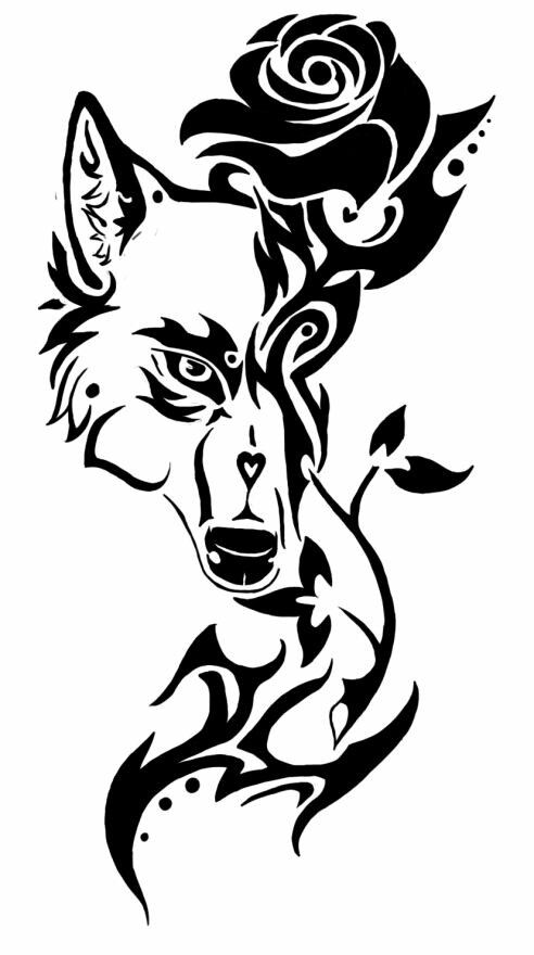 Wolf And Rose Tribal Art Pinterest Tattoos Tribal Tattoos And