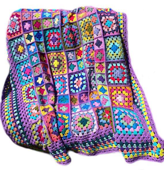 MADE TO ORDER lavender border Crochet afghan kaleidoscope afghan granny square afghan