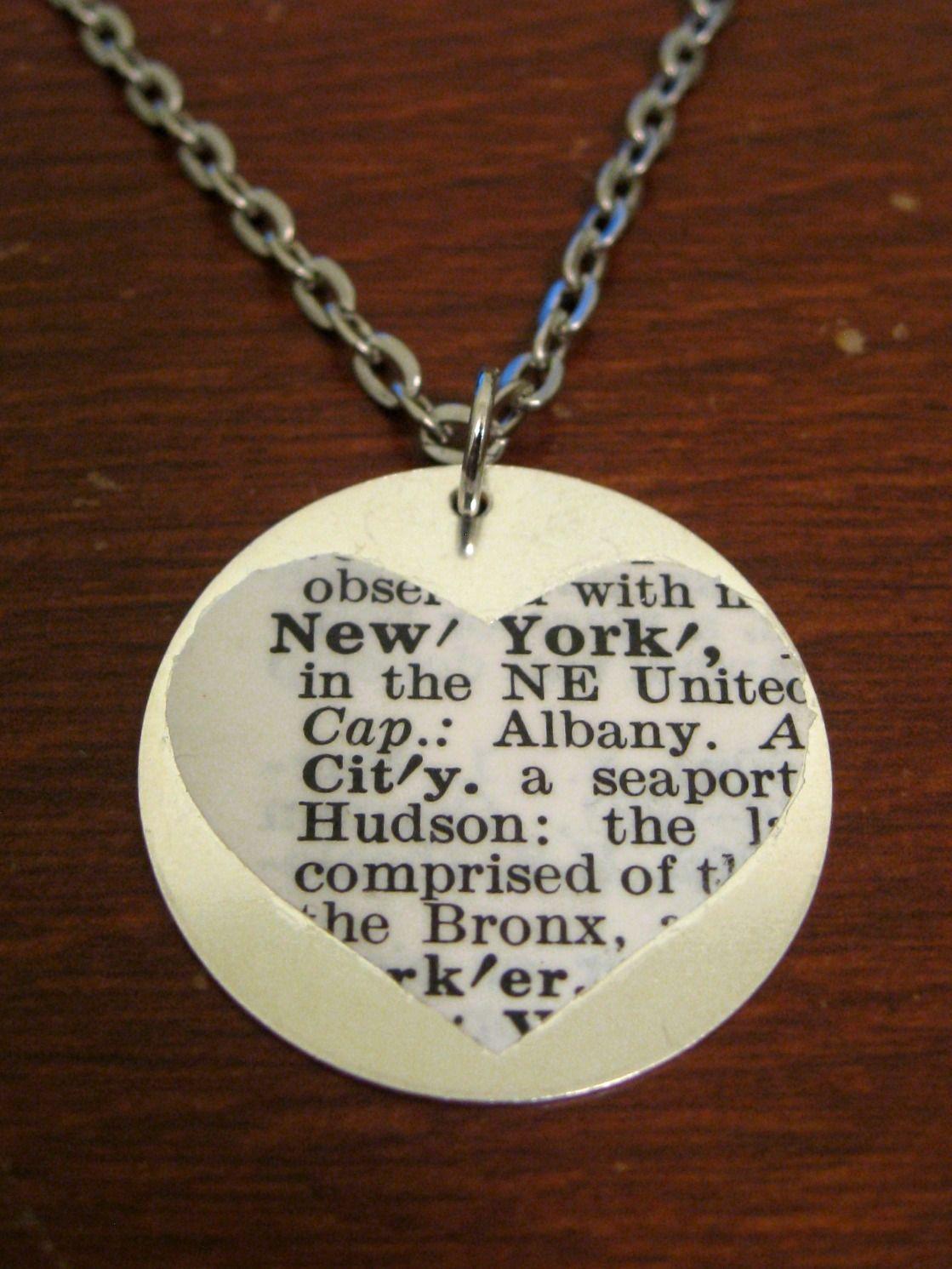Handmade new york dictionary pendant on silver chain 15 handmade new york dictionary pendant on silver chain aloadofball Choice Image