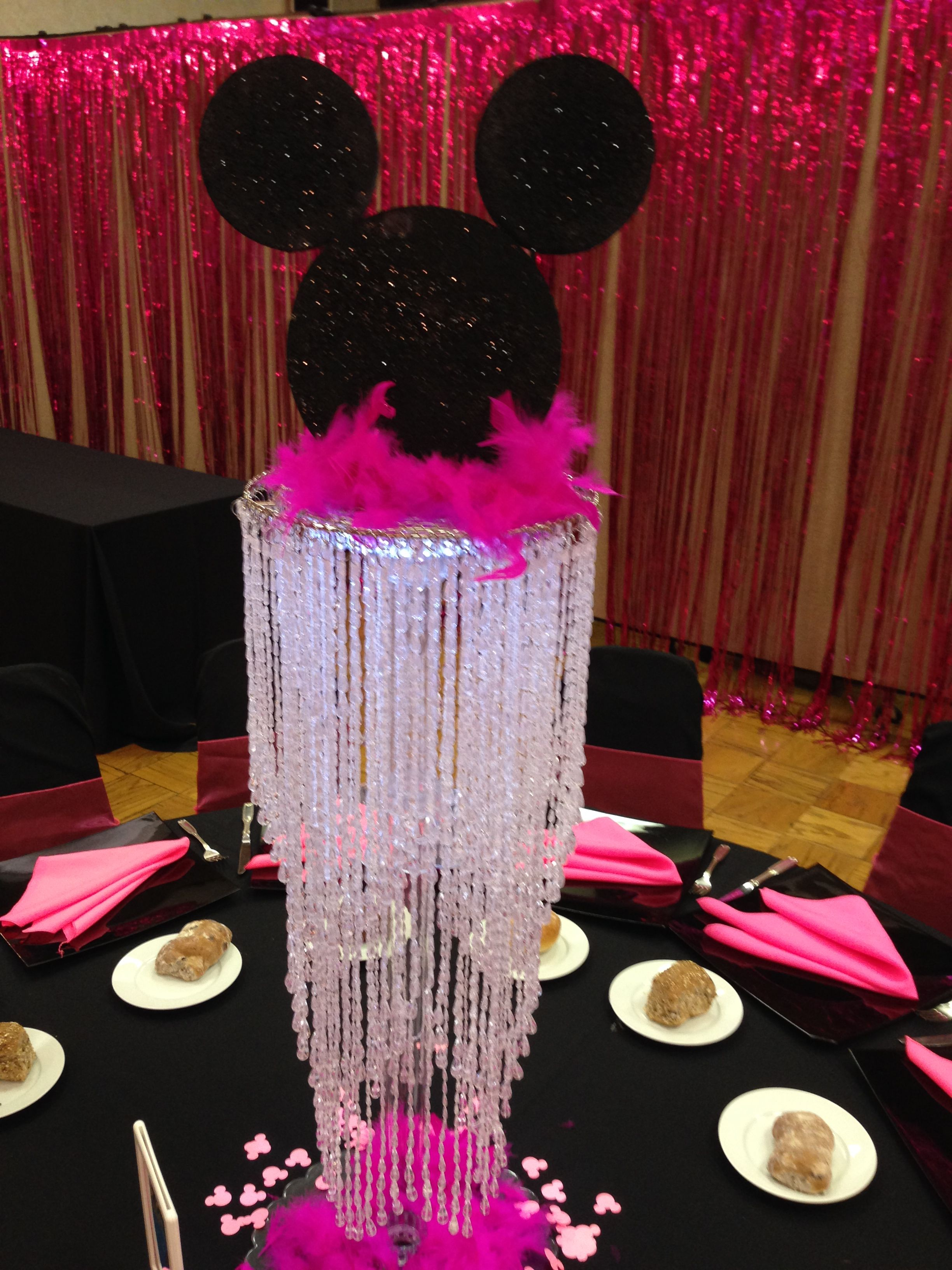 A Centerpiece From The Happiest Bat Mitzvah On Earth Disney Centerpiece Elevated Both Literally Pearl Birthday Party Bat Mitzvah Party Bar Mitzvah Themes