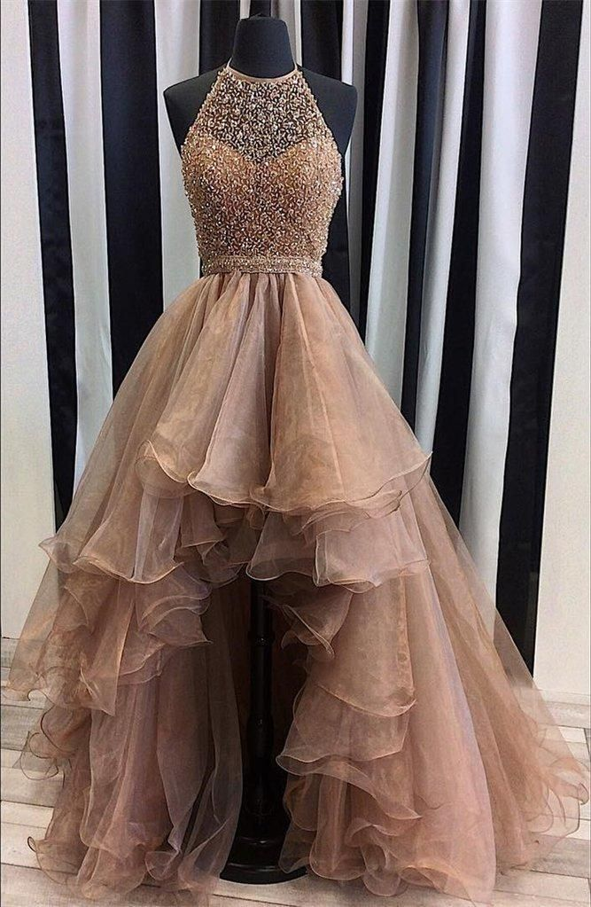 Halter Top Illusion Rhinestone Beaded Hi-Low Tulle Most Popular Long ...