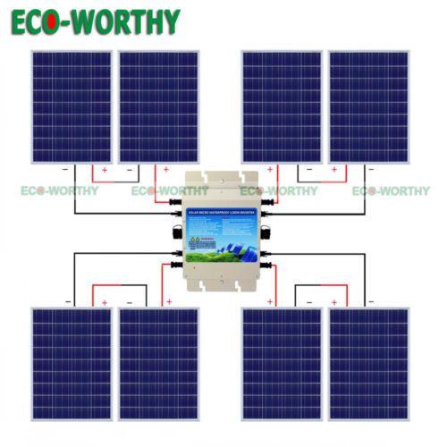 800w 24v Grid Tie System Kit 8100w Solar Panel With 1200w Waterproof Inverter Solar Panels Solar System Kit Solar