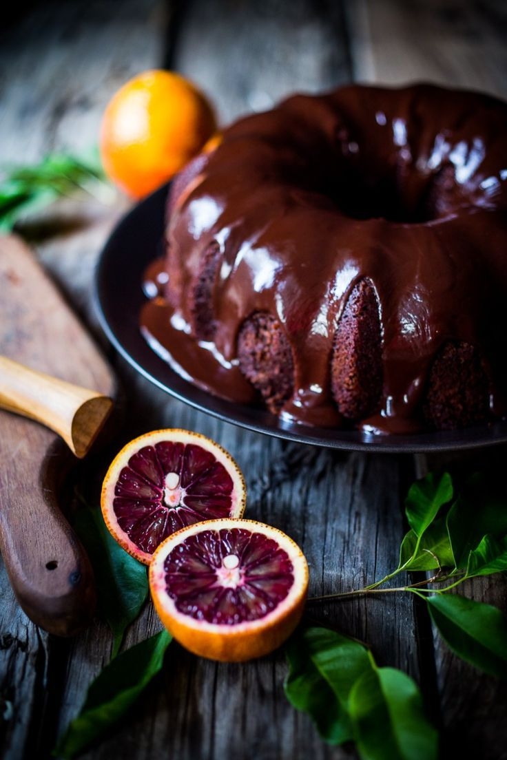A delicious recipe for Dark Chocolate Bundt Cake with Blood Oranges and a Chocolate Ganache icing. Simple and scrumptious!