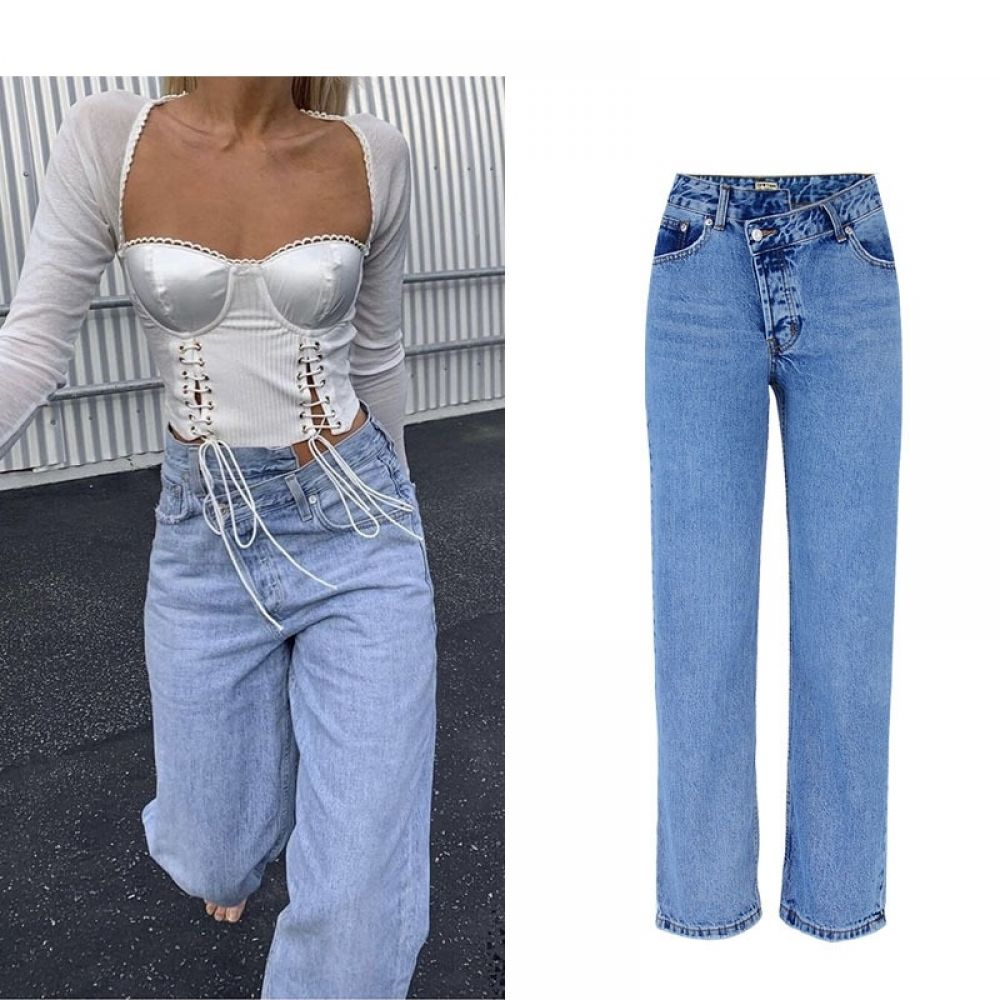 Winter Irregular High Waist Denim Jeans  Price: 29.94 & FREE Shipping #bellbottoms #westbottoms #bot...