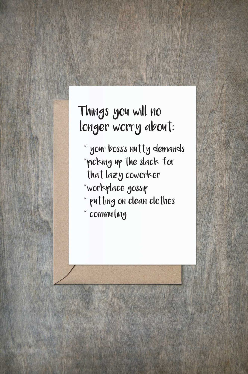 Things You No Longer Worry About Retirement Card Retirement Card