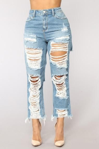 dacec5d1 Big Hole Ripped Jeans Women Harem Pants Loose Ankle-Length Denim Pants  Boyfriends For Woman