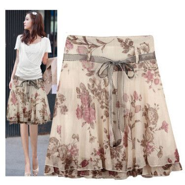 5441e3e8f90a2 Free Shipping 2017 Elegant New Fashion Floral Summer Chiffon Women Skirts  Plus Size Ruffles Design Casual Skirt Saias Femininas