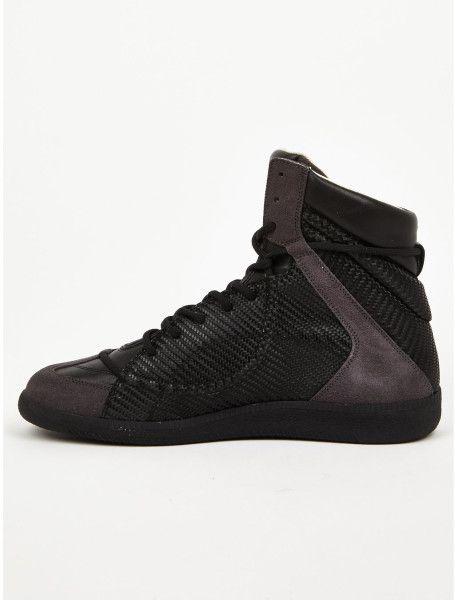 margiela for men | Maison Martin Margiela Mens Black Woven Hidden Lace Hightop Sneakers ...