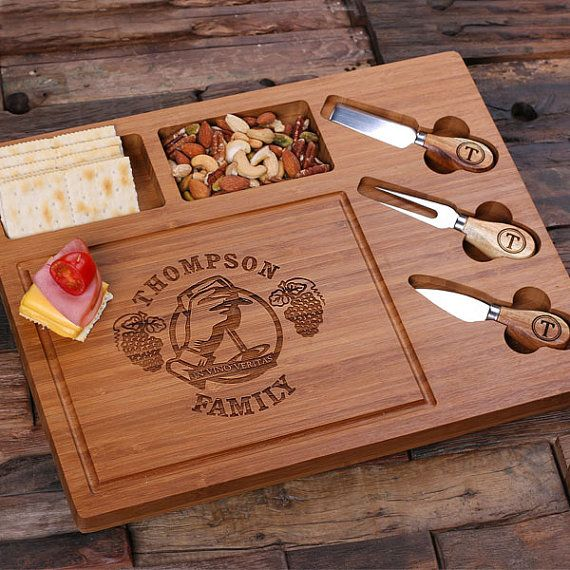 Personalized Bamboo Wood Cutting Bread Cheese Serving Tray Board with Tools (025209)