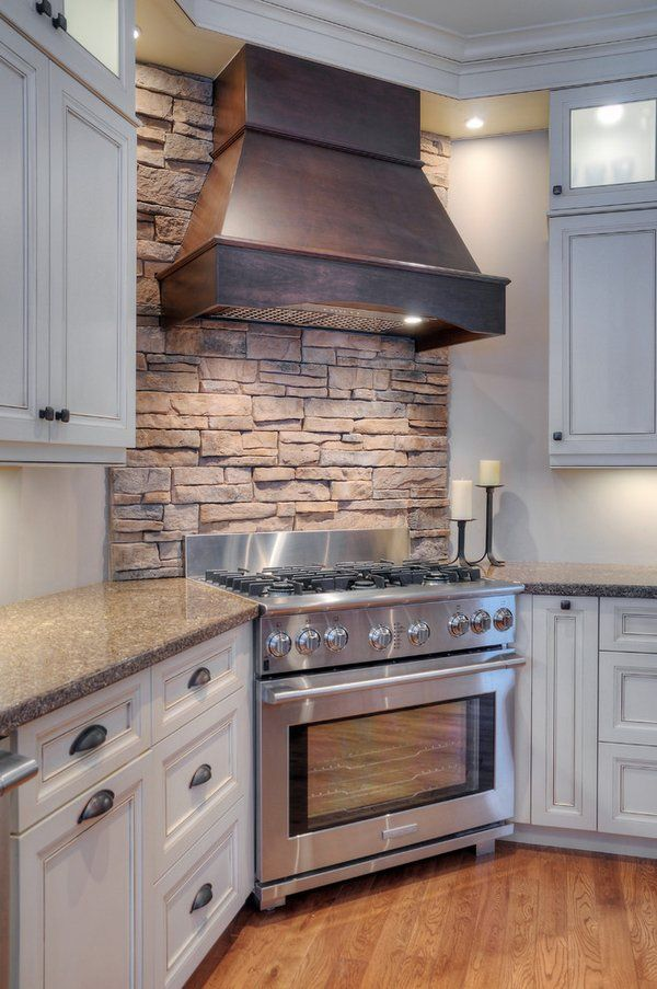 Kitchen Decor Ideas White Cabinets Stone Backsplash Tiles Corner
