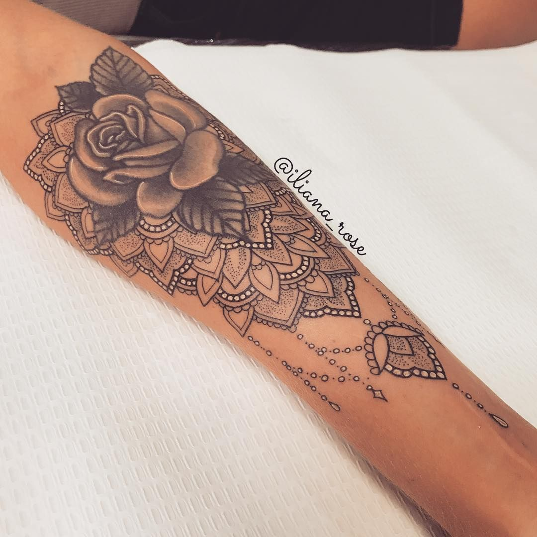 That Mandala Girl Op Instagram Small Delicate Detail On This Cuff Add On To An Existing Rose No Forearm Tattoo Women Forarm Tattoos For Women Cuff Tattoo