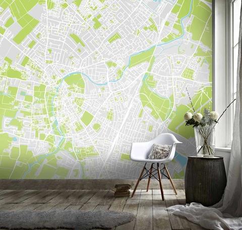1 3d Simple Map White Green City Wall Mural Wallpaper 121 Jessartdecoration Mural Wallpaper Textured Wallpaper Wallpaper