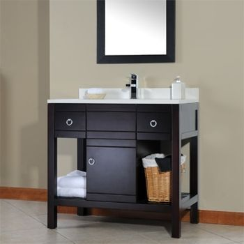 36 Vanity With Single Sink Quartz Top Drilled For Single Hole