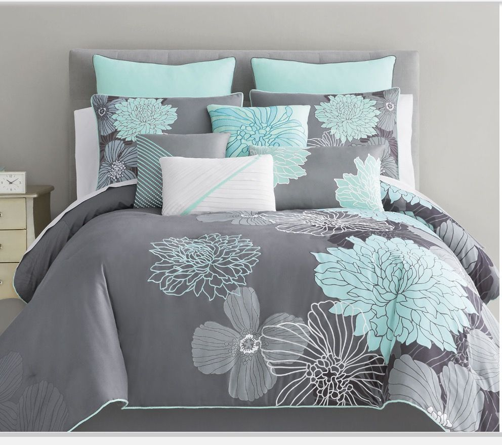 Crest Home Sunrise Queen Comforter 5 Pc Bedding Set Teal And Grey Medallion Oversized And Overfilled Turquoise Room Teal Bedding Gray And Teal Bedroom