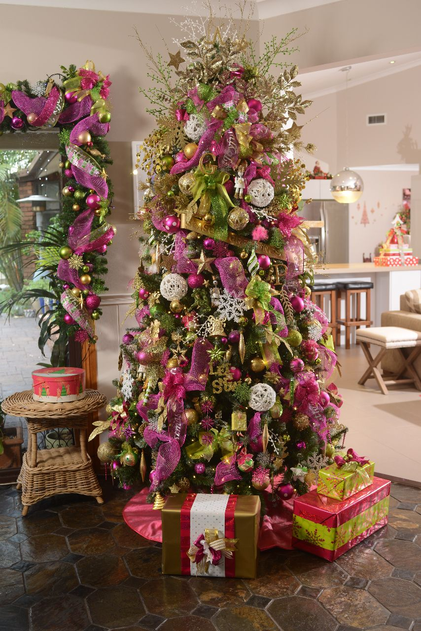 Our 2014 pink & green 7ft Xmas tree. Holiday decor