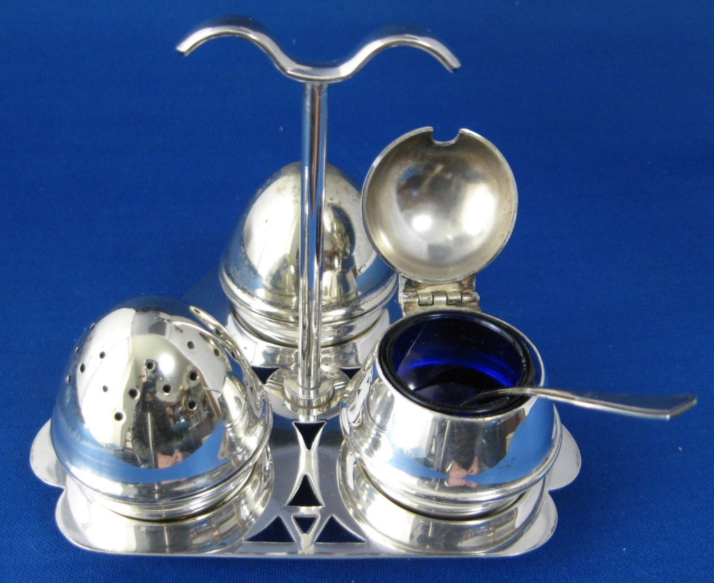 English Art Deco Salt Pepper Mustard Tray Set Egg Shape 8 Piece Cruet Set Cobalt Blue Glass Liner 1930s EPNS