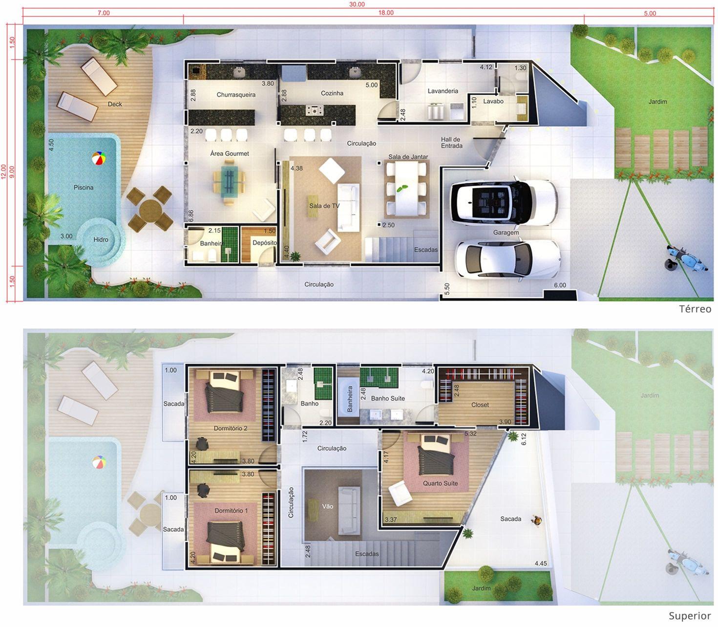 Projeto de sobrado com design inovador planta para for Casas 1 planta