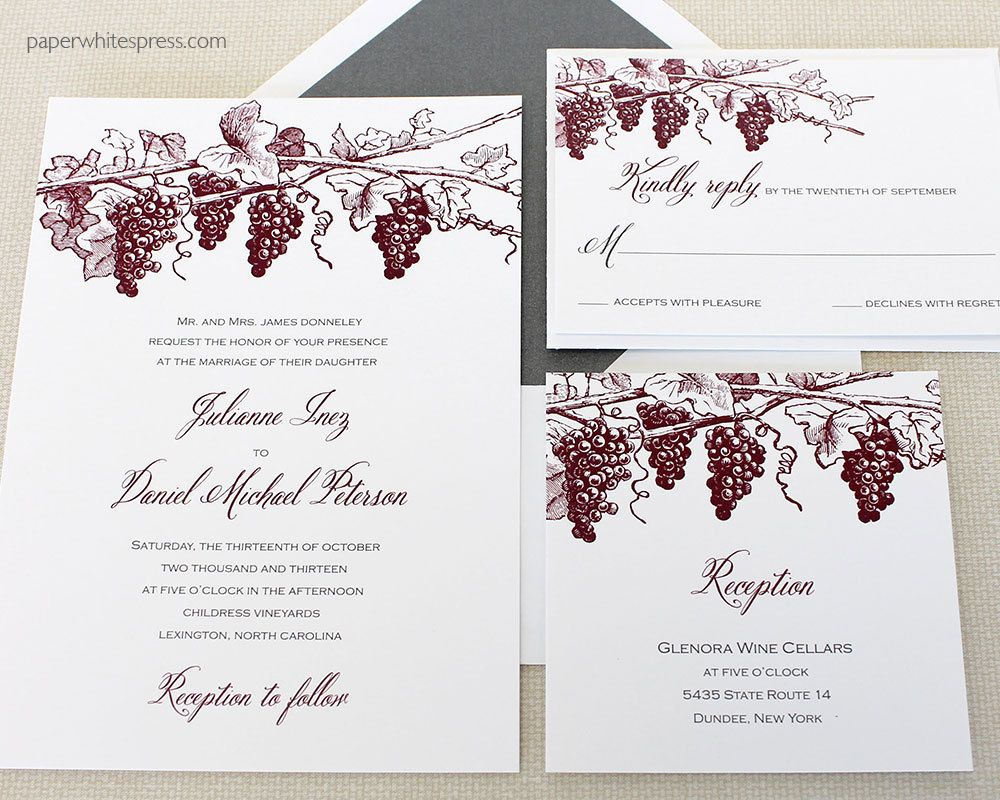 Vineyard Wedding Invitations Winery Invitation Grapevine Wine Country Tasting Invite