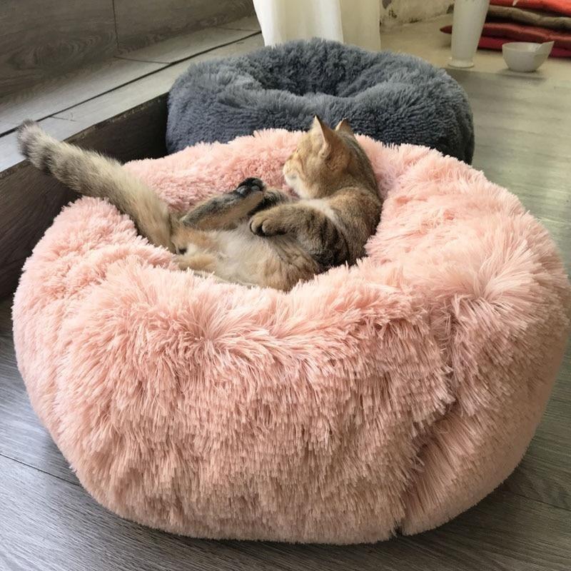 Comfy Warm Plush Round Bed Pet Beds For Dogs Cats Super Shopper Faux Fur Pet Bed Plush Pet Bed Dog Pet Beds