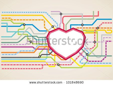 Subway Map Presentation.Abstract Subway Map In Shape Of A Heart Vector Illustration Metro
