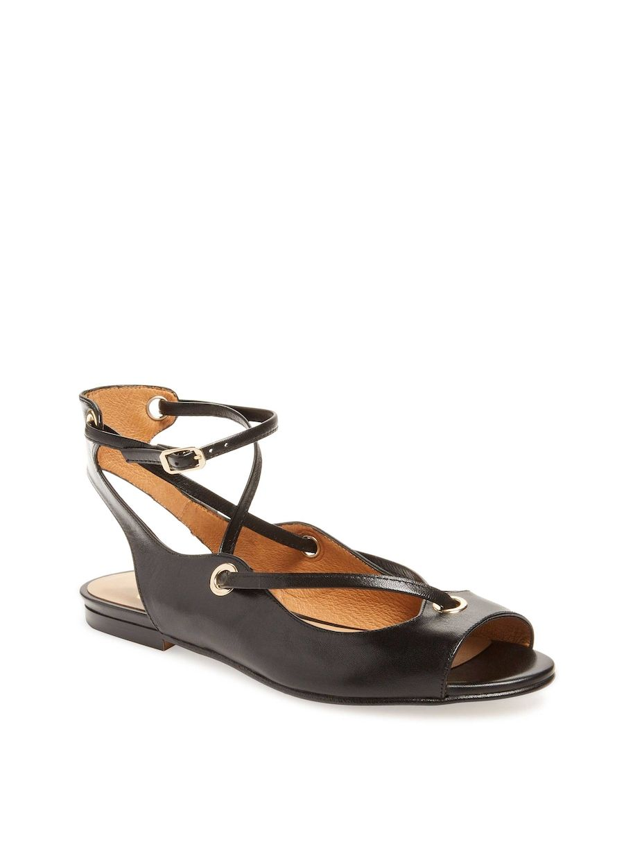 Wiley Peep Toe Flat Leather Flat Toe | Sole, Style summer and Metallic leather a7b22f