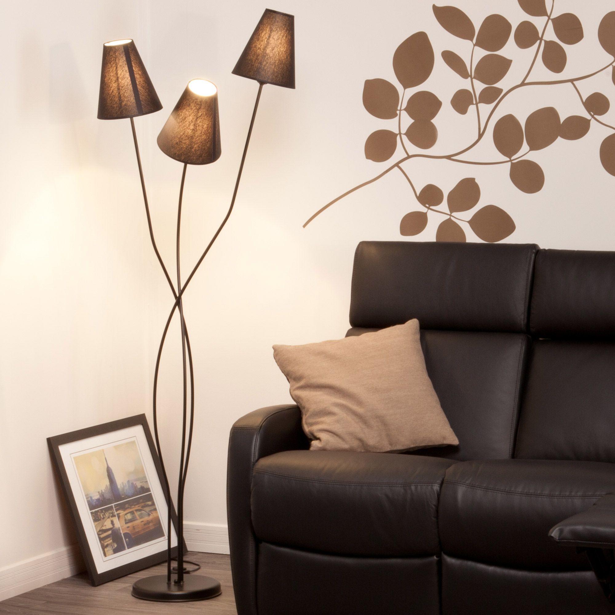 lampadaire 3 pieds en m tal et abat jours en coton hauteur 161 cm lille abats jours. Black Bedroom Furniture Sets. Home Design Ideas