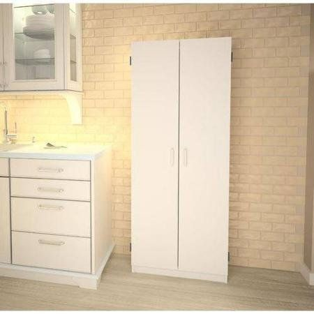 Special Offers Double Pantry White Concealed Storage Behind Two Doors Review In Stock Free Shippi White Kitchen Storage Tall Pantry Cabinet Furniture