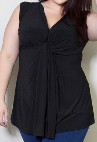 b407f33eb28  ThePlusSide SWAK Miranda sleeveless black top with knotted bust. SO figure  flattering! NWT. Plus size 6x (fits 7x 8x too) 32 34 36 38 40
