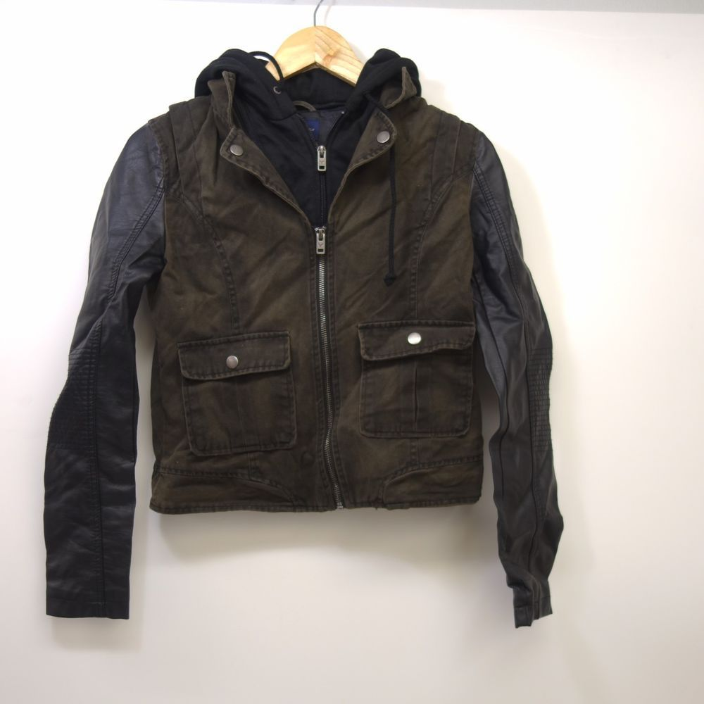 65820da27eb New American Eagle AEO AE Olive Green Layered Leather Sleeve Full Zip Jacket  XS  Levis  JeanJacket  AnyOccasion