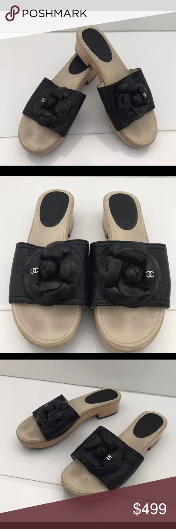Authentic Chanel Black Camelia Clogs Size 36 6 Wow Nice Used Inside Flats Kamelia Beige 39 Condition Some Scratches On Wood Bottoms Ill Add More Detail But Great Shoes