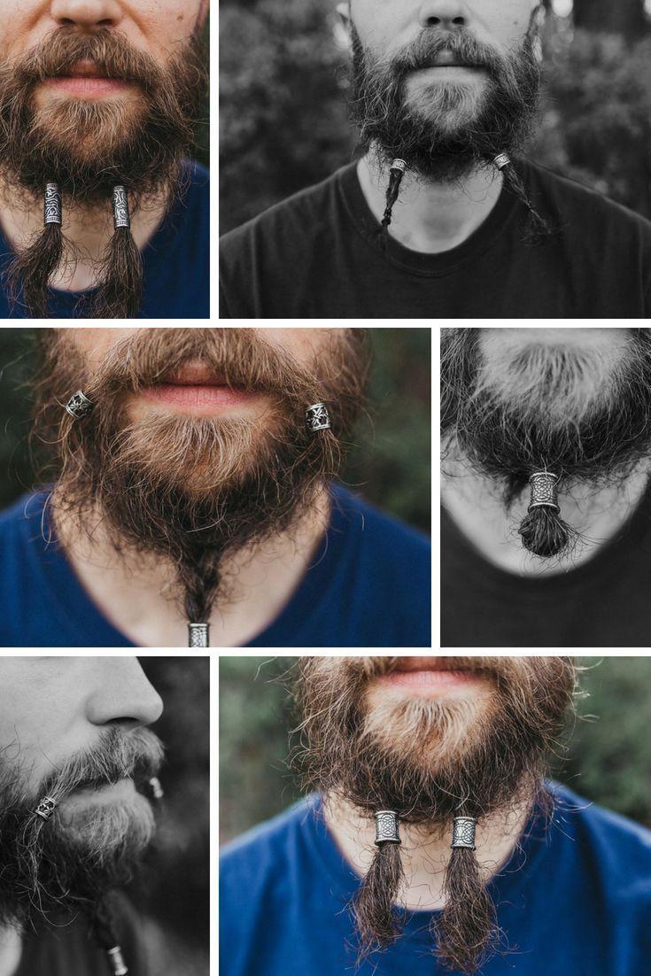 Beard Beads Stainless Steel Hair Beads For Men Viking Beads Dreadlock Beads V Braided Beard Hair Beads Viking Hair