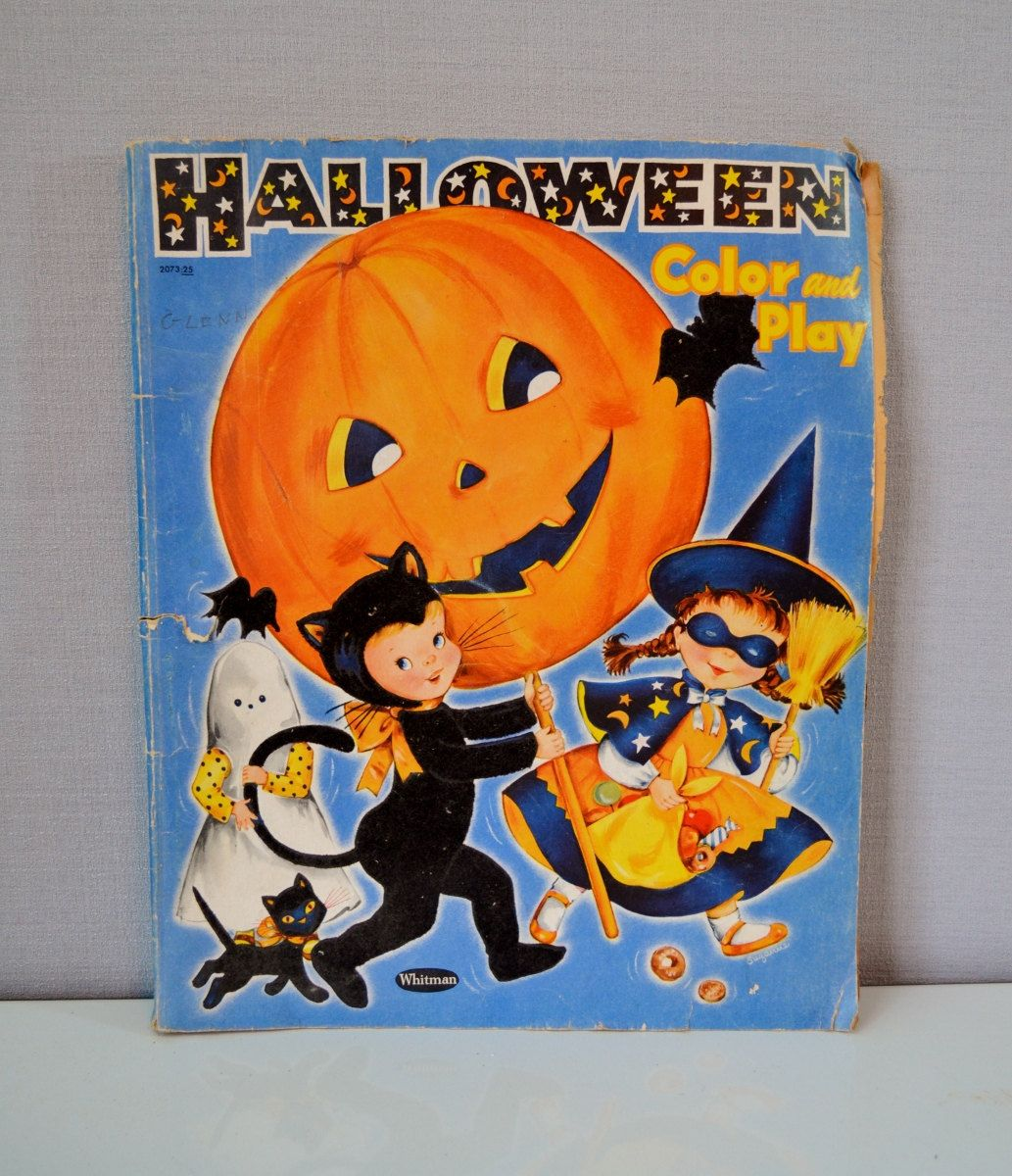 Vintage Halloween Coloring Book Jack O Lantern Black Cat