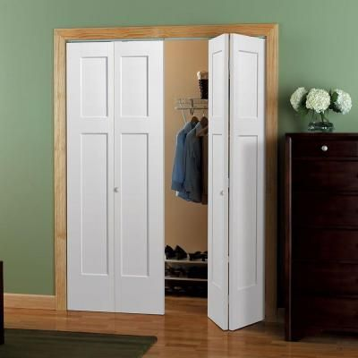 Masonite 30 In X 80 In Winslow 4 Panel Primed White Hollow Core Composite Bi Fold Interior Door 83199 The Home Depot Bifold Closet Doors Bifold Doors Doors Interior