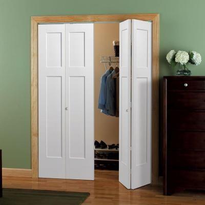 Masonite 30 In X 80 In Winslow 4 Panel Primed White Hollow Core Composite Bi Fold Interior Door 83199 The Home Depot Bifold Closet Doors Bifold Doors Doors Interior