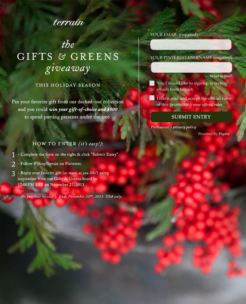 The Gifts & Greens Giveaway! Pin your favorite gift from our decked ...