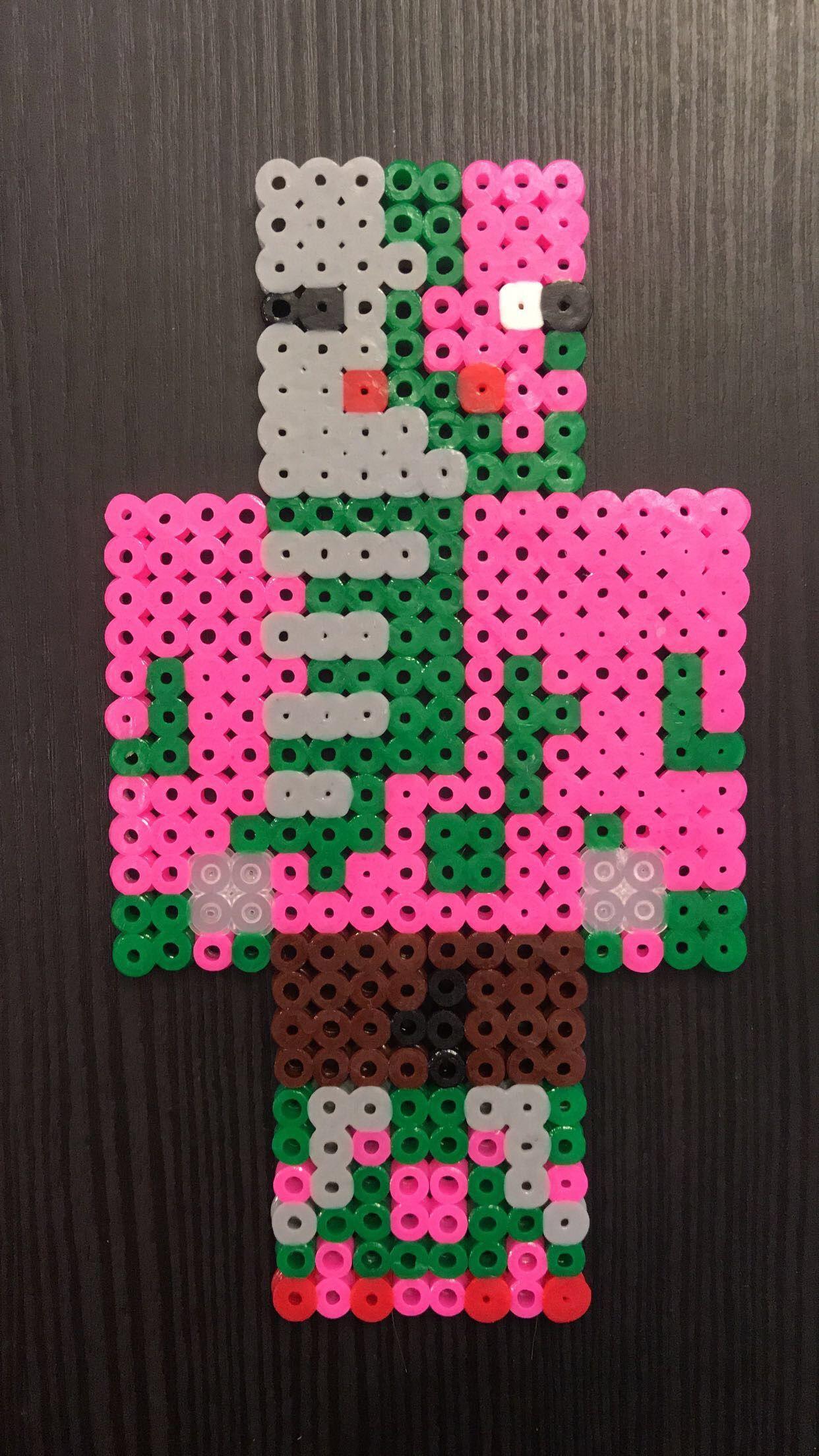 Minecraft Zombie Pigman perler beads!!  Diy perler beads, Perler