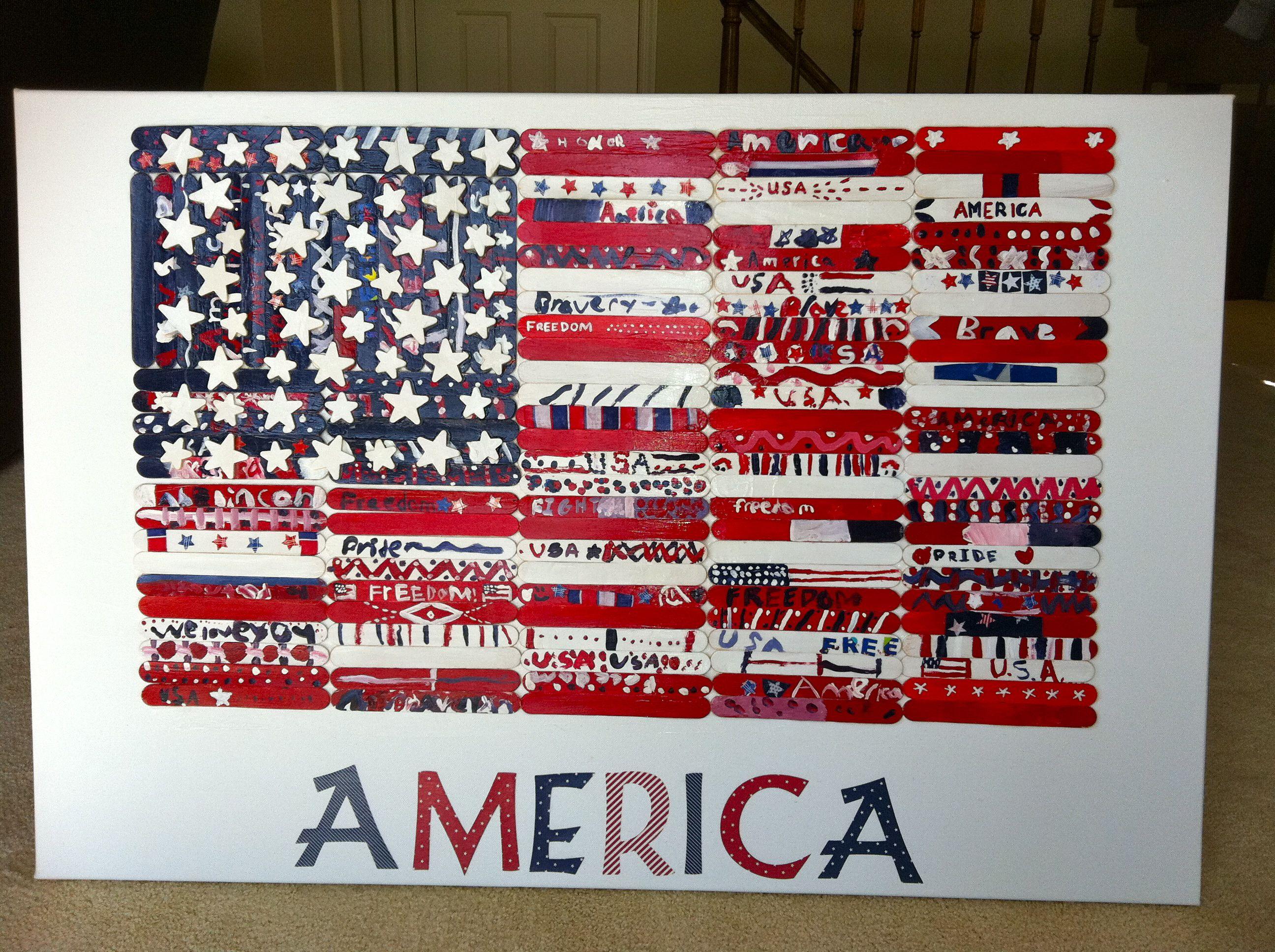 Popsicle Art American Flag De By 3rd Grade For School