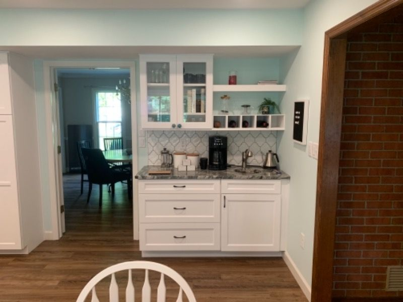 Kitchen Updated With Granite Counters And White Cabinets In 2020 Kitchen Remodel Remodeling Contractors Updated Kitchen
