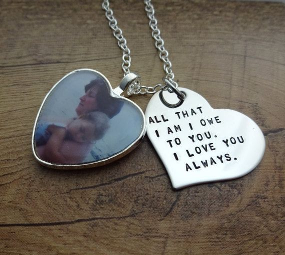 Bridal Gift From Mother: Personalized Hand Stamped Heart Photo Charm Necklace