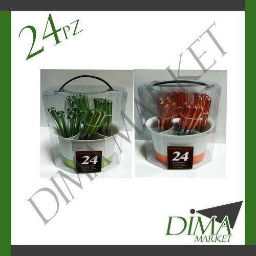 SERVIZIO POSATE ACCIAIO 24PZ  CON MANICO ARANCIONE VERDE  + PORTA POSATE http://stores.shop.ebay.it/DIMA-MARKET