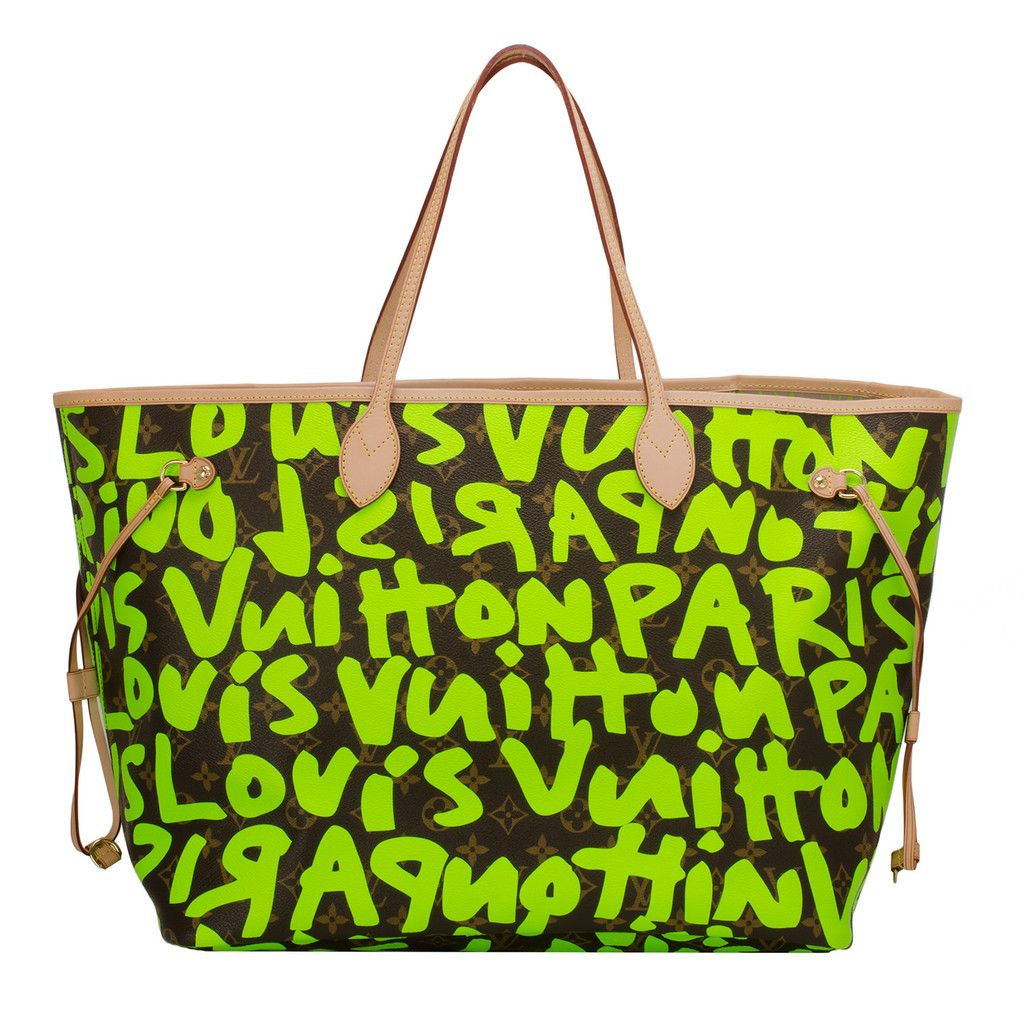 67591bcbd Louis Vuitton Green Monogram Graffiti Neverfull GM of coated canvas with  silk screened bright fluorescent green colored graffiti lettering designed  in ...