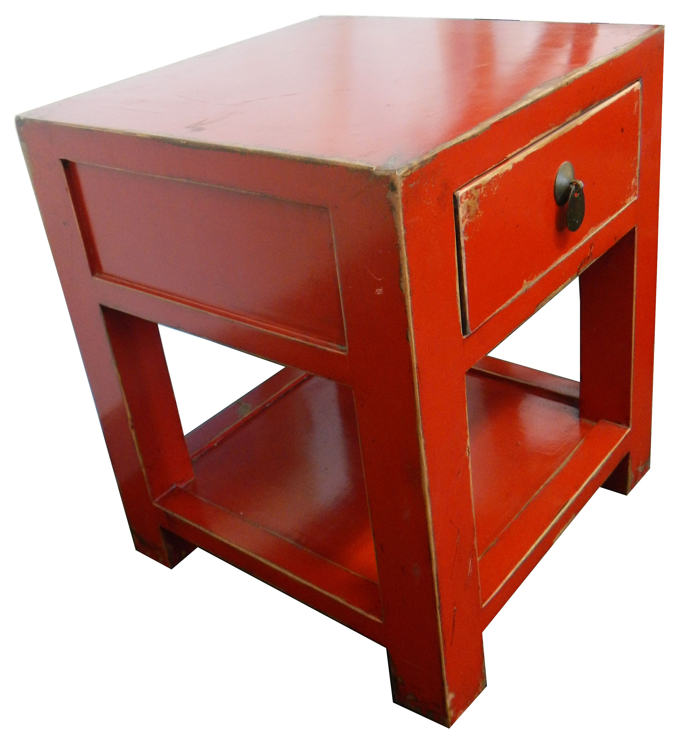 High Quality Chinese Red Lacquer Side Table
