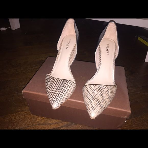 Coach Camille pumps Pink/nude snakeskin with silver leather pumps size eight, small scratch to left heel (pictured) worn once for a bridesmaid outfit Coach Shoes Heels