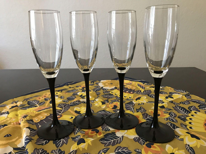 Luminarc Arcoroc Black Stem Champagne Flutes, Set of Four