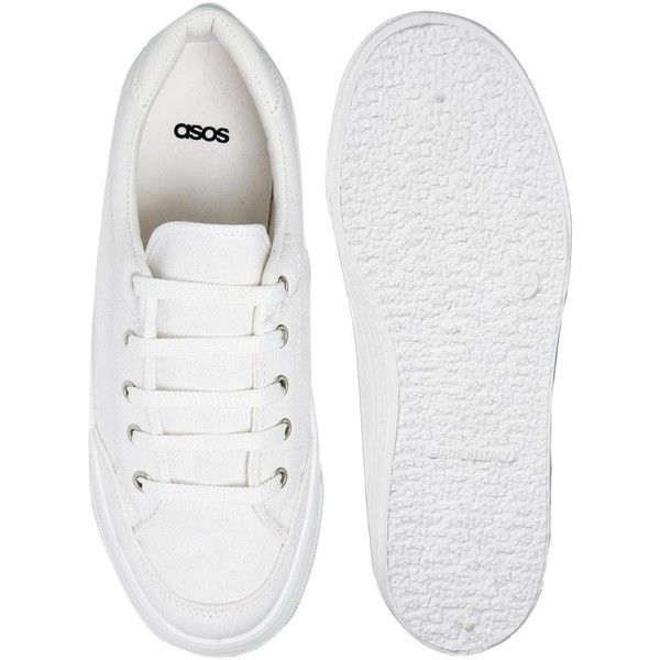 ASOS DINO Flatform Trainers ($25) ❤ liked on Polyvore featuring shoes, sneakers, flatform sneakers, asos, asos shoes, cuff shoes and cushioned shoes