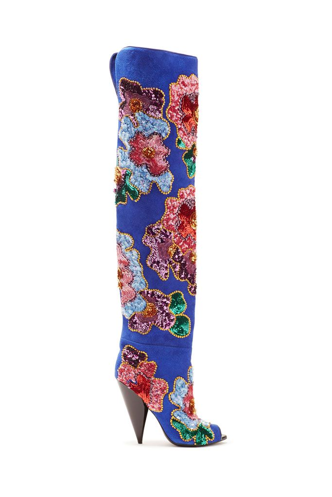 Tom Ford Blue Suede Multi Color Sequin Embellished Thigh High ...